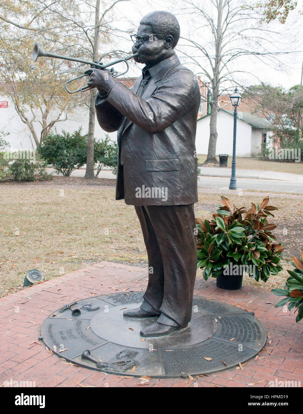 Dizzy Gillespie statue in his hometown Cheraw South Carolina - Stock Image