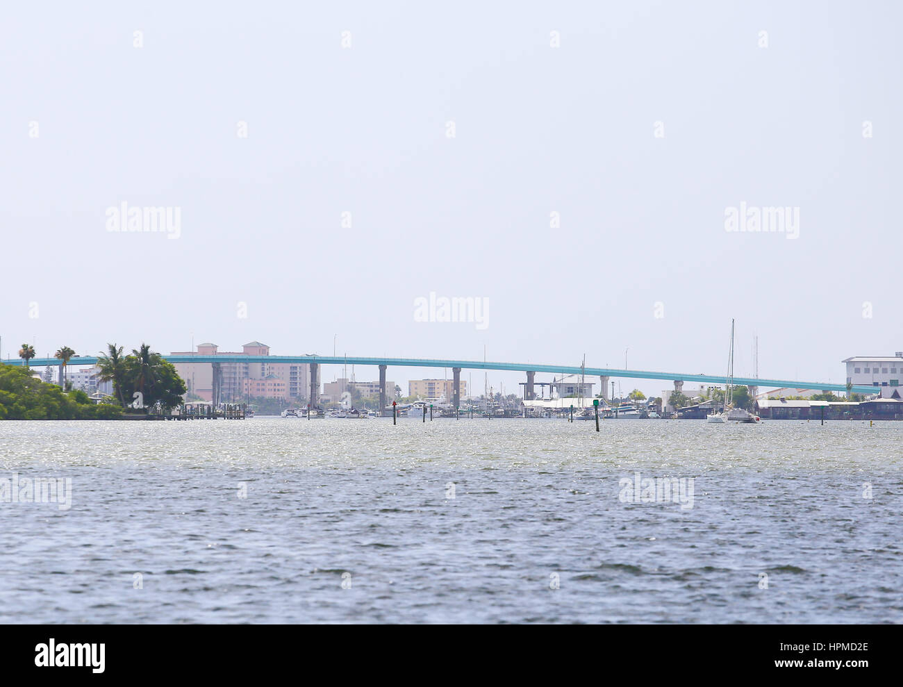 Fort Myers Beach, USA - MAY 11, 2015: Matanzas Pass Bridge connecting Estero Island with Florida mainland seen from Stock Photo