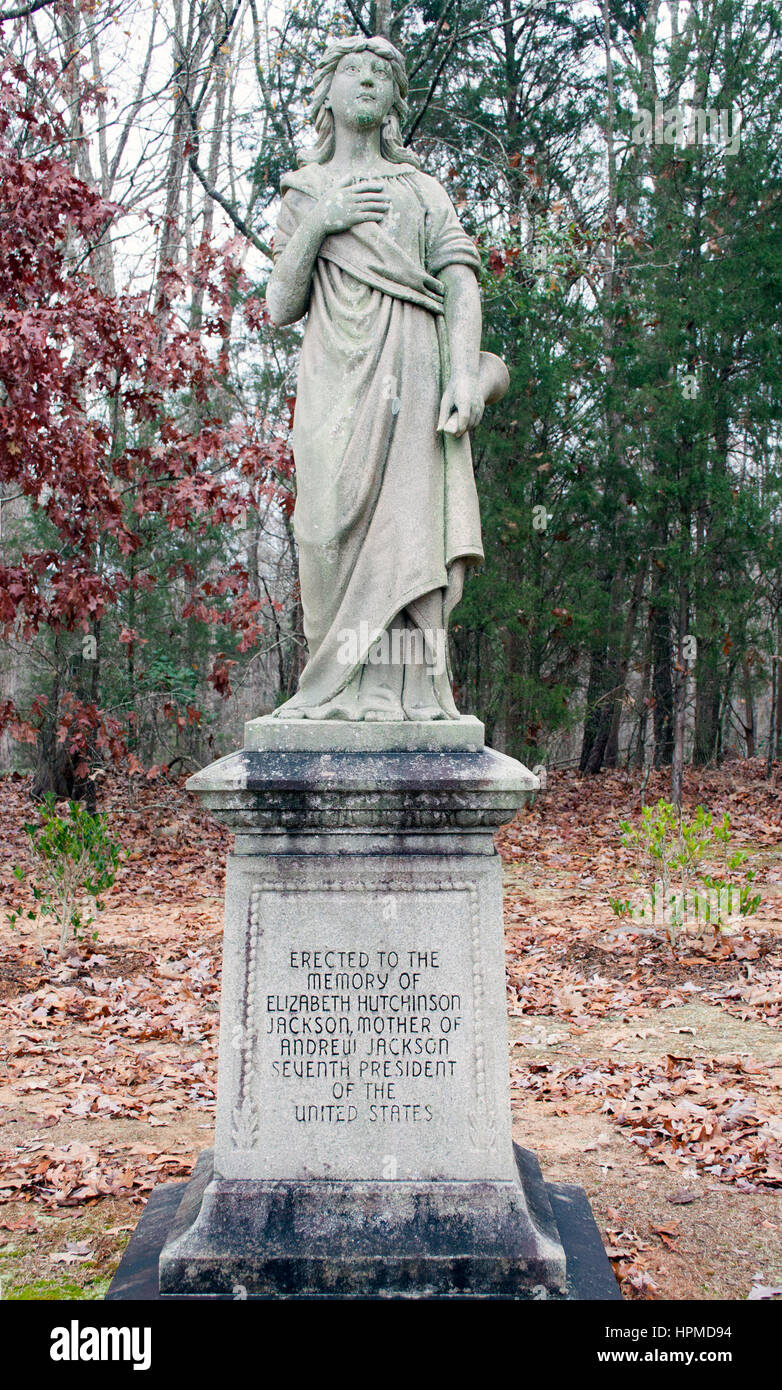 President Andrew Jacksons mothers grave in Lancaster South Carolina - Stock Image