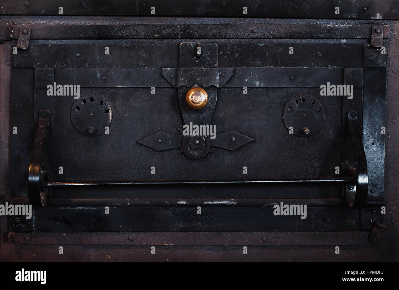 Closeup view of an old metal oven. Stock Photo