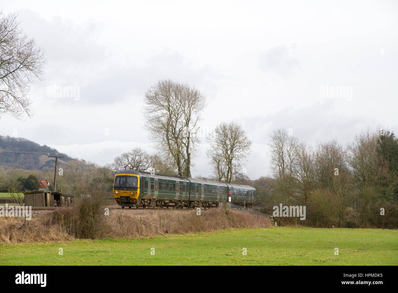 BETCHWORTH, SURREY, ENGLAND - FEBRUARY 4TH 2017 - A class 166 Turbo Express DMU working a GWR service over the North - Stock Image