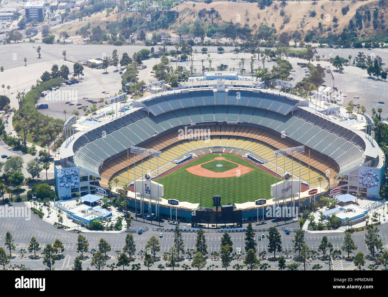 Los Angeles, USA - May 27, 2015: Aerial view of the Dodger Stadium in Elysian Park. The stadium and the stands and - Stock Image