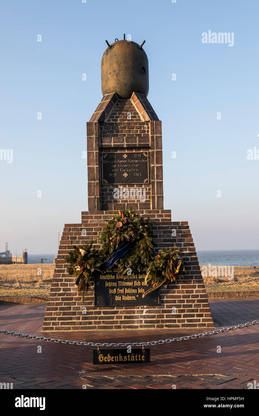 Minesweeper naval memorial, port of Cuxhaven, Germany, north sea coast, - Stock Image