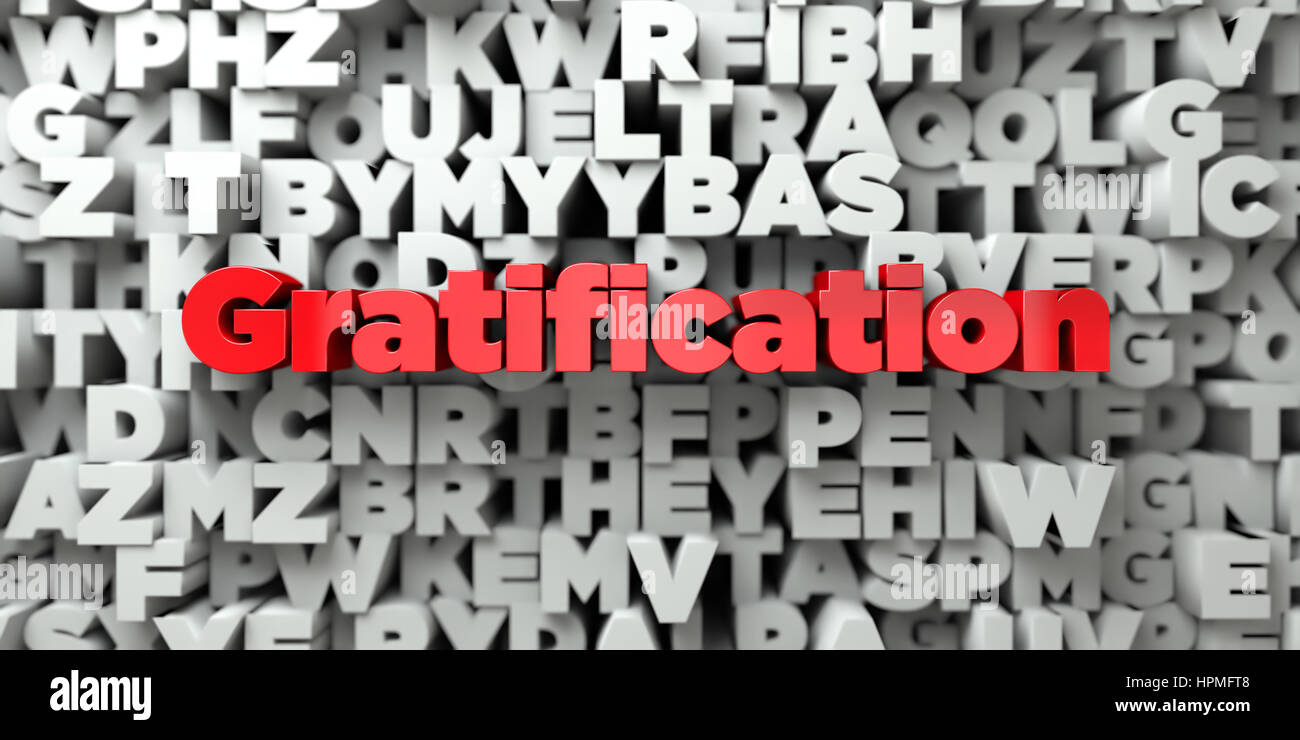 Gratification -  Red text on typography background - 3D rendered royalty free stock image. This image can be used Stock Photo