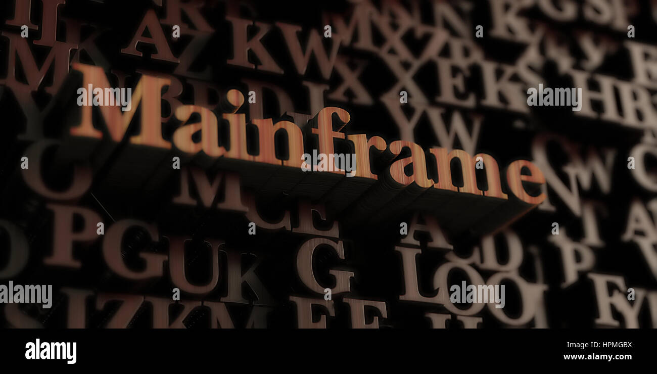 mainframe - Wooden 3D rendered letters/message.  Can be used for an online banner ad or a print postcard. - Stock Image