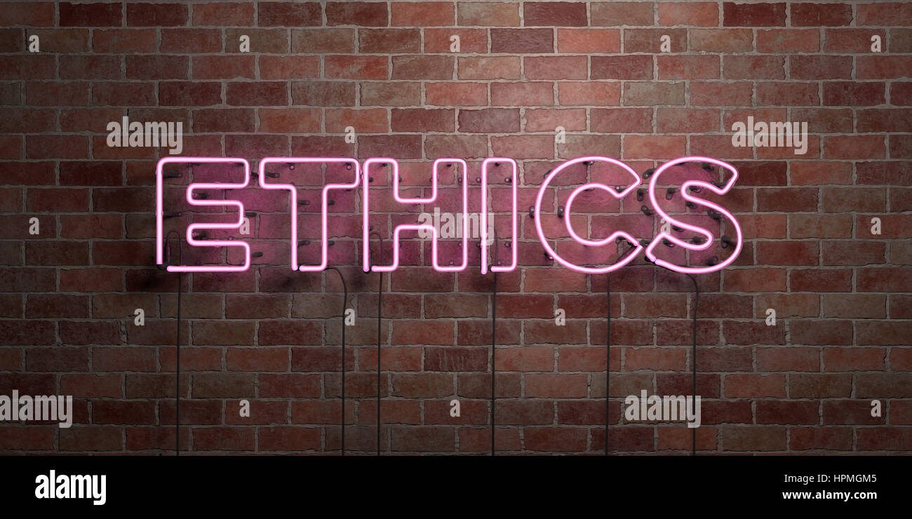 ETHICS - fluorescent Neon tube Sign on brickwork - Front view - 3D rendered royalty free stock picture. Can be used - Stock Image