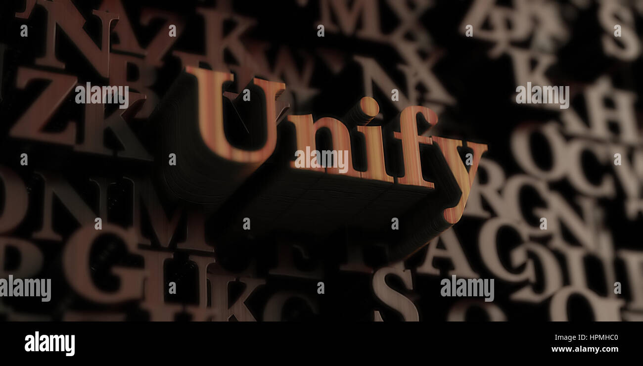 Unify - Wooden 3D rendered letters/message.  Can be used for an online banner ad or a print postcard. - Stock Image