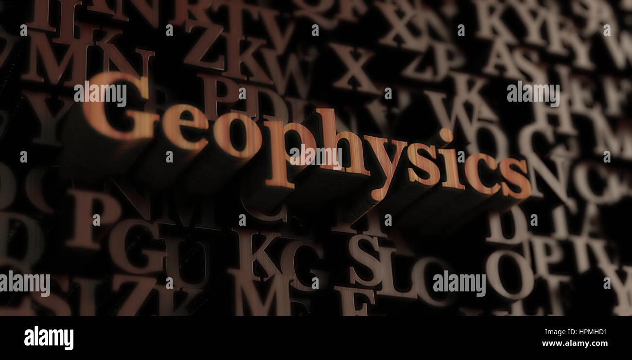 geophysics - Wooden 3D rendered letters/message.  Can be used for an online banner ad or a print postcard. - Stock Image