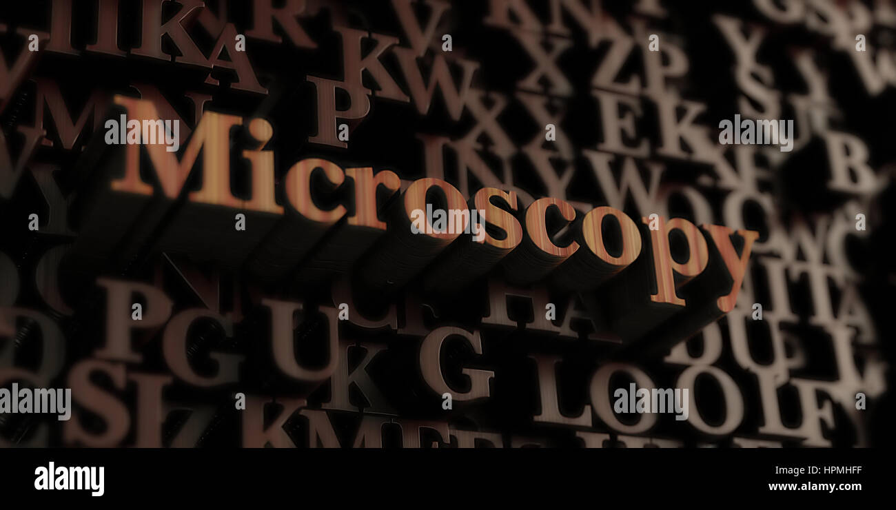 Microscopy - Wooden 3D rendered letters/message.  Can be used for an online banner ad or a print postcard. - Stock Image