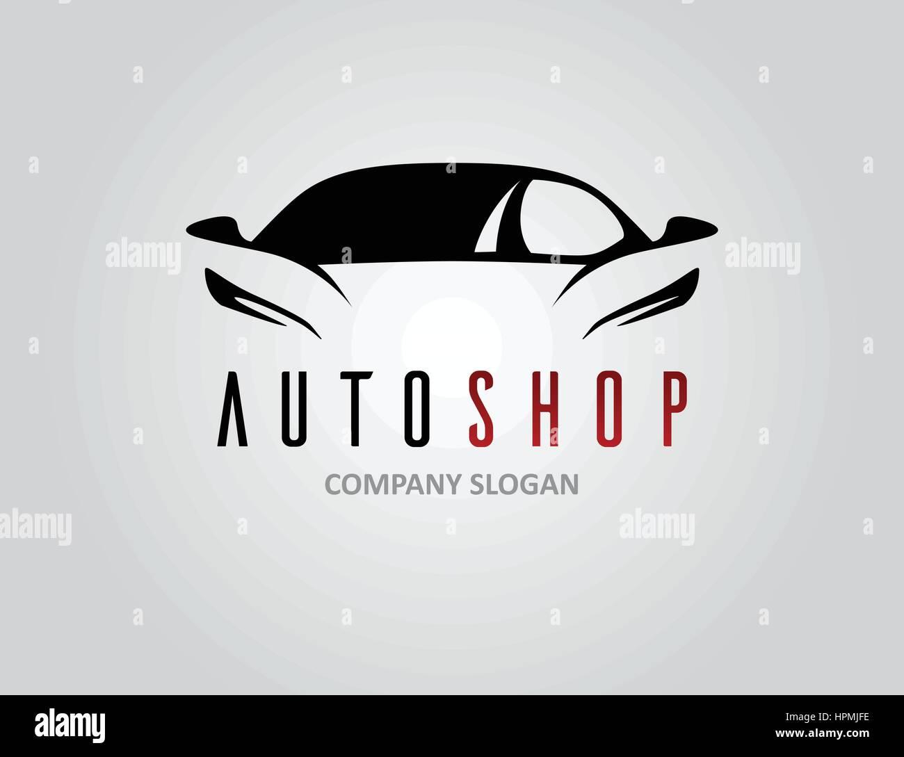 Auto Shop Car Logo Design With Concept Sports Vehicle Icon