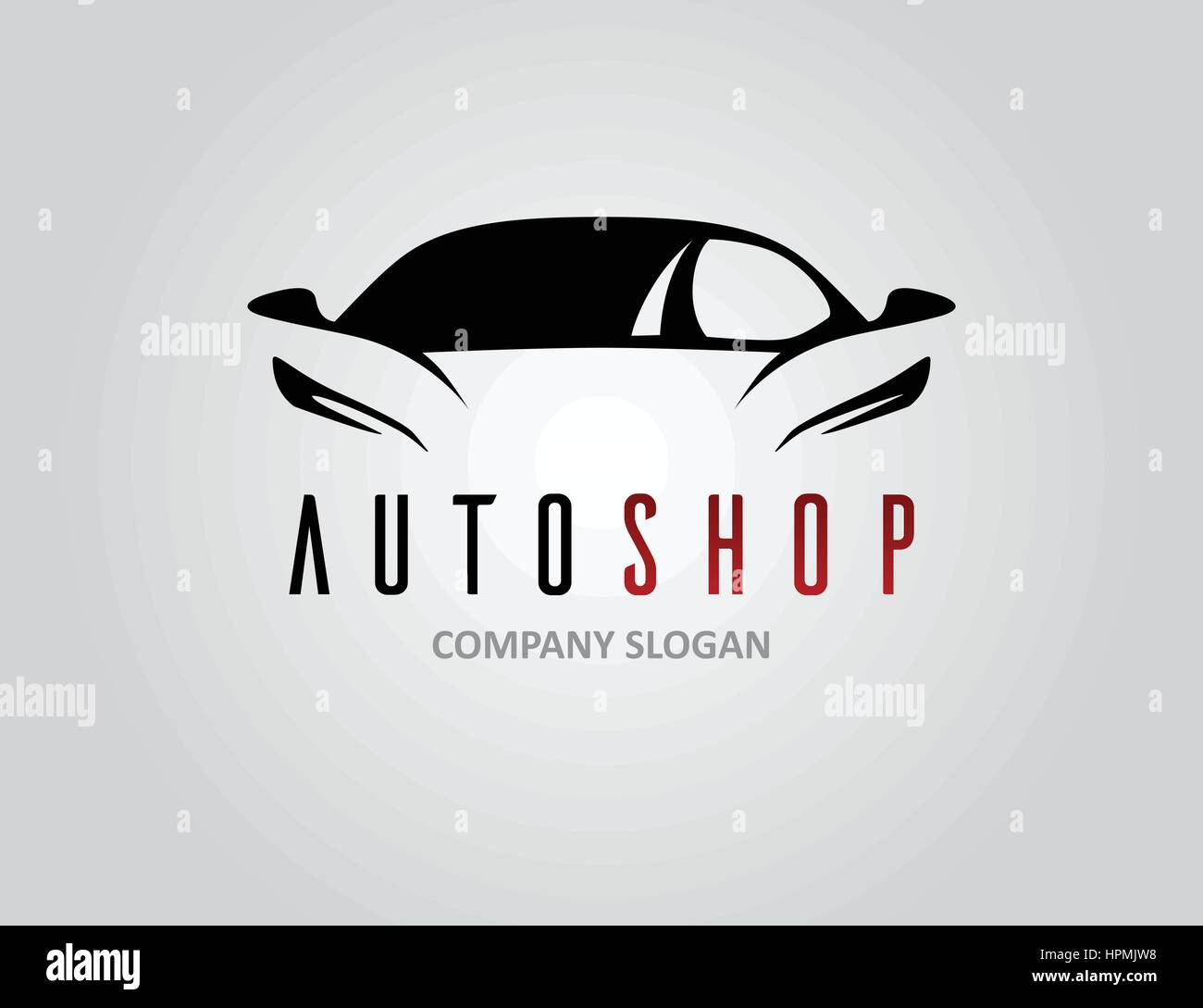 Auto shop car logo design with concept sports vehicle icon silhouette on light grey background. Vector illustration. - Stock Image