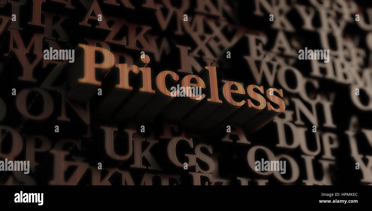 Priceless - Wooden 3D rendered letters/message.  Can be used for an online banner ad or a print postcard. - Stock Image