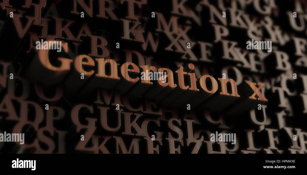 Generation X - Wooden 3D rendered letters/message.  Can be used for an online banner ad or a print postcard. - Stock Image
