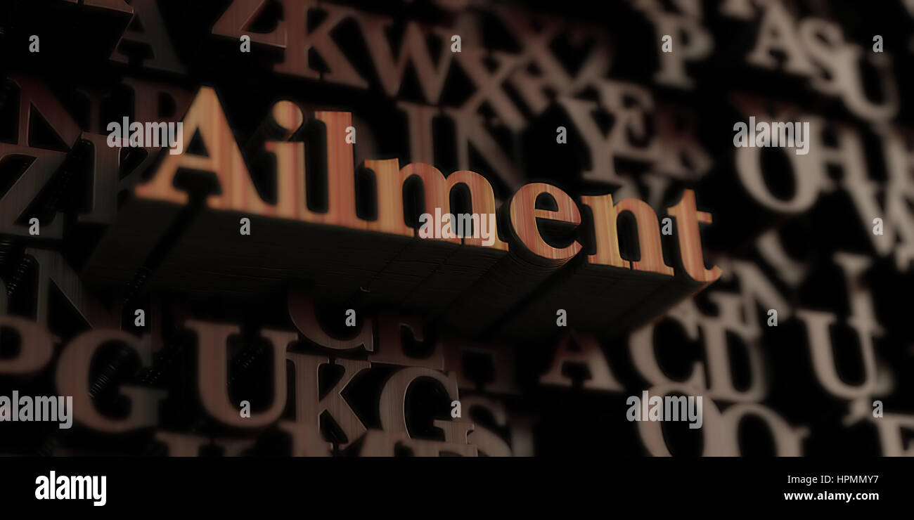 ailment - Wooden 3D rendered letters/message.  Can be used for an online banner ad or a print postcard. - Stock Image