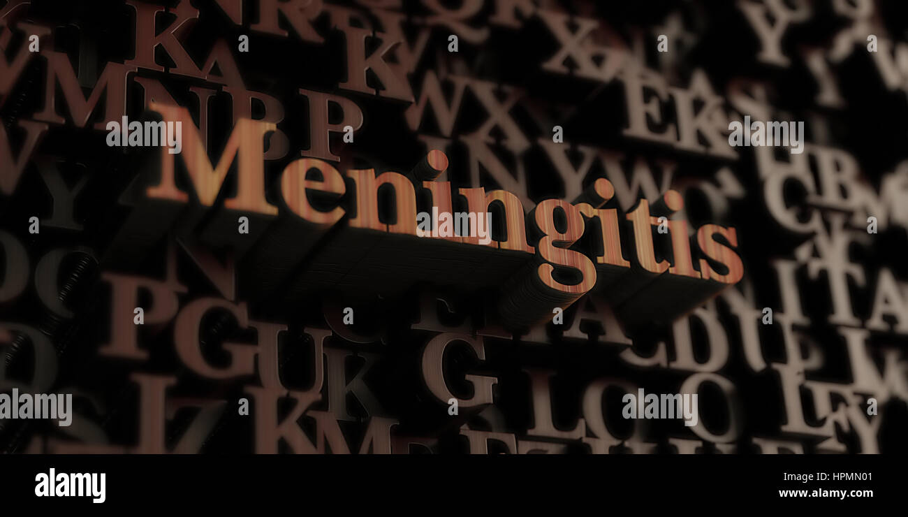 Meningitis - Wooden 3D rendered letters/message.  Can be used for an online banner ad or a print postcard. - Stock Image