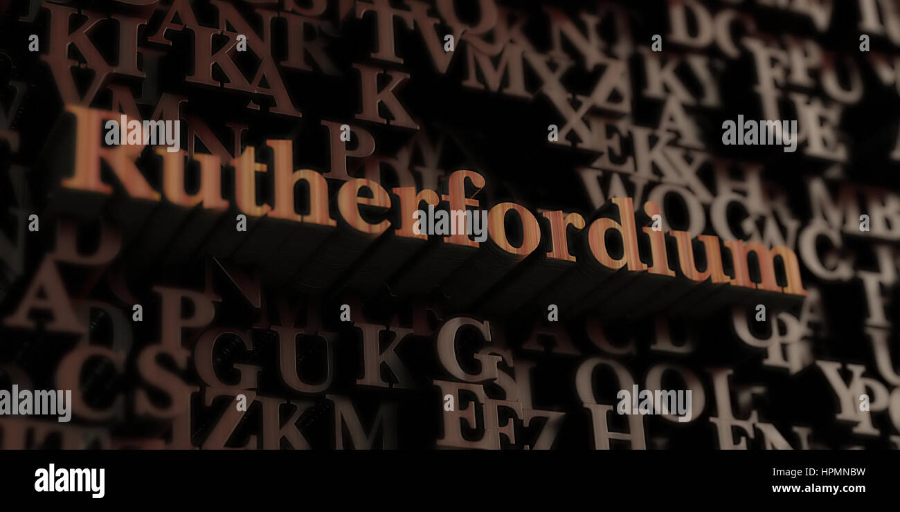 Rutherfordium - Wooden 3D rendered letters/message.  Can be used for an online banner ad or a print postcard. Stock Photo