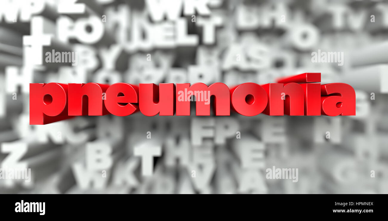 pneumonia -  Red text on typography background - 3D rendered royalty free stock image. This image can be used for - Stock Image