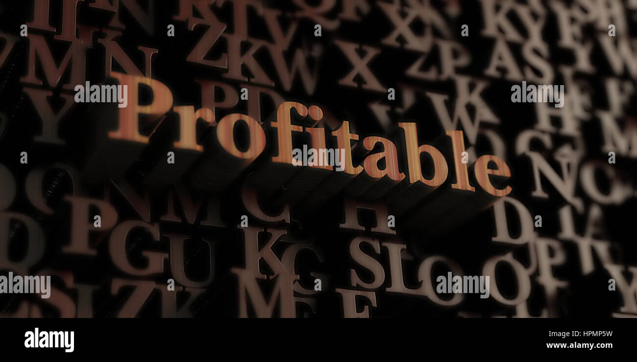 profitable - Wooden 3D rendered letters/message.  Can be used for an online banner ad or a print postcard. - Stock Image