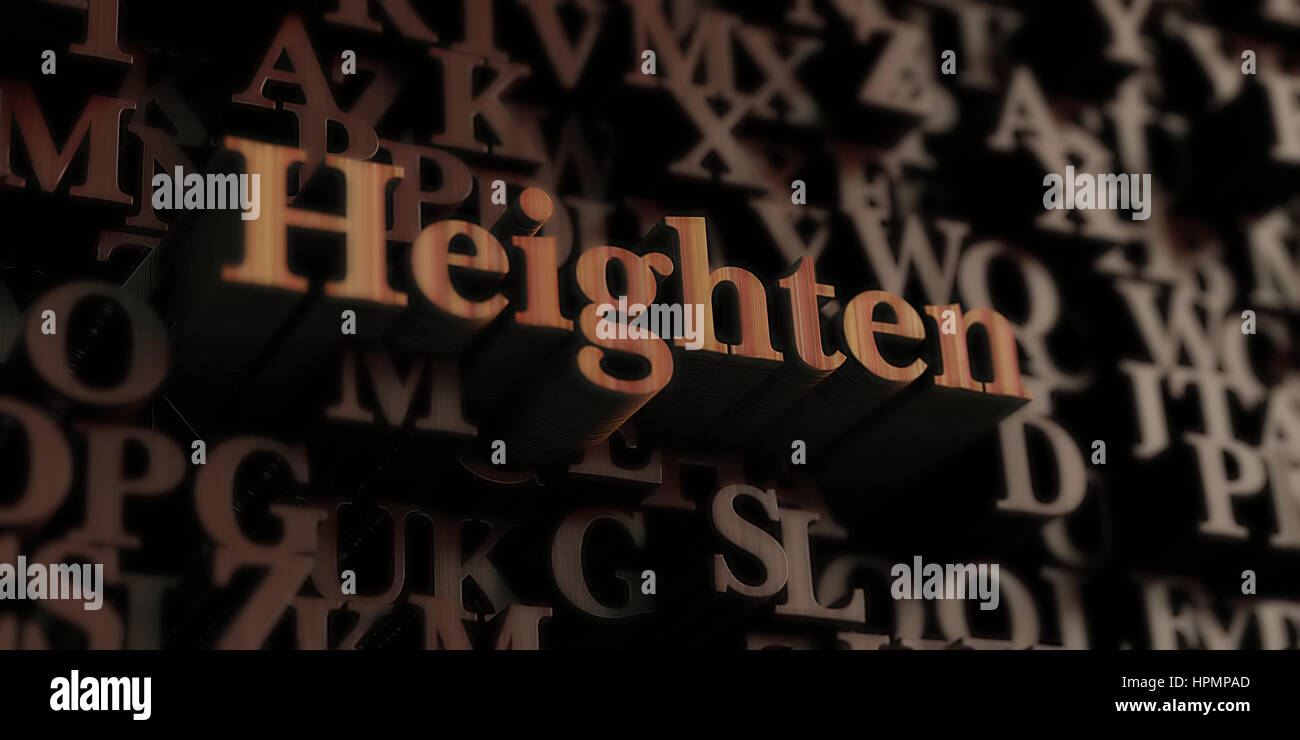 Heighten - Wooden 3D rendered letters/message.  Can be used for an online banner ad or a print postcard. - Stock Image