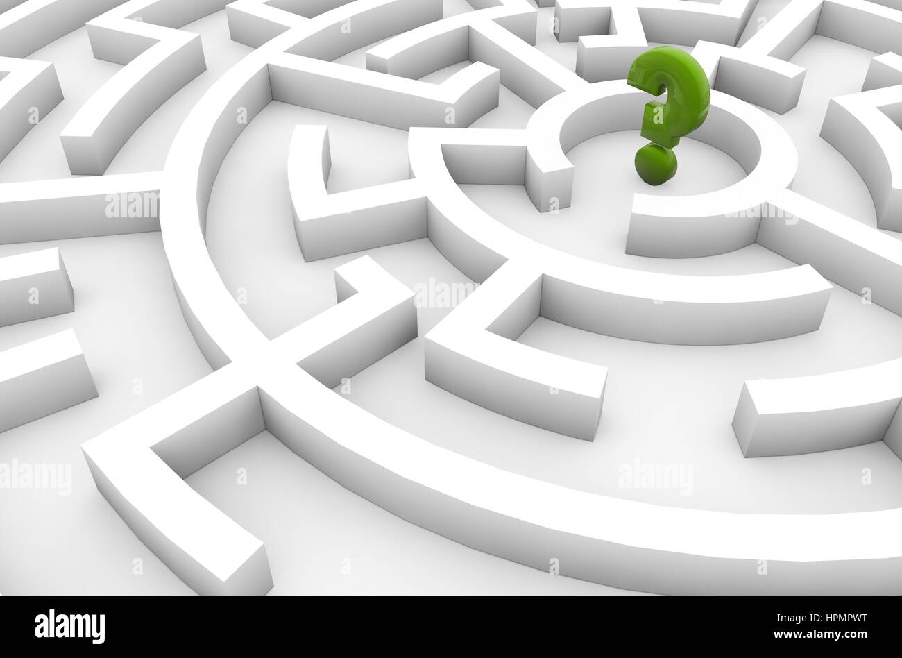 doubts concept: question mark in the middle of a maze - Stock Image