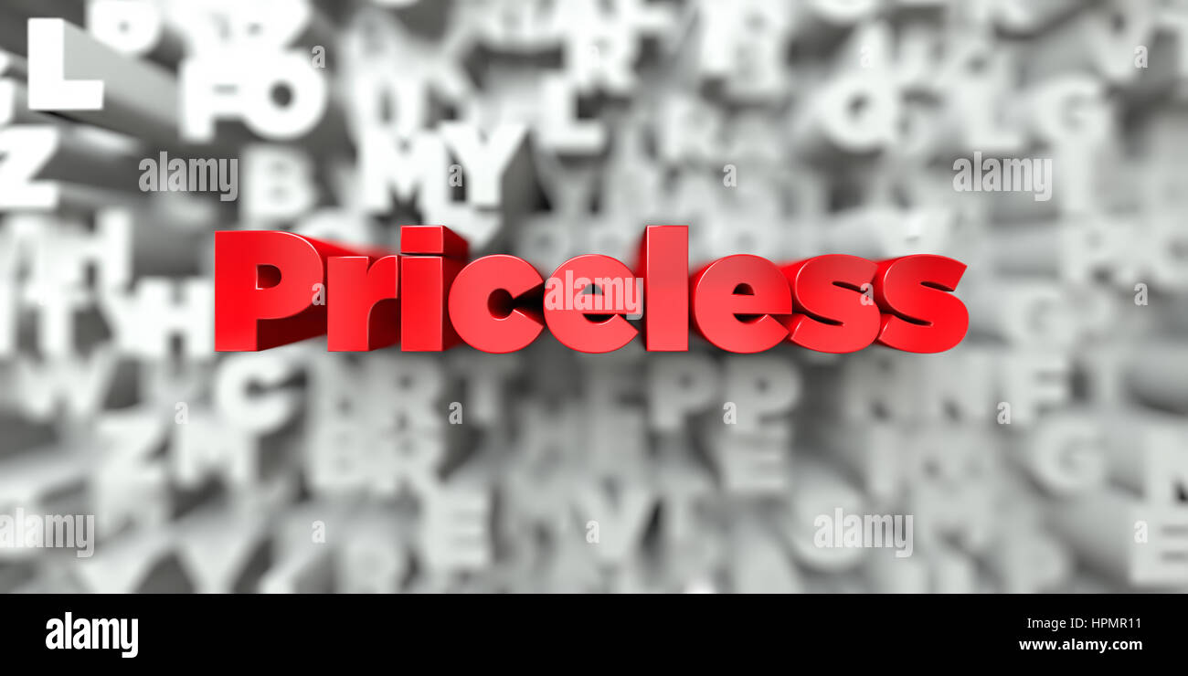 Priceless -  Red text on typography background - 3D rendered royalty free stock image. This image can be used for - Stock Image
