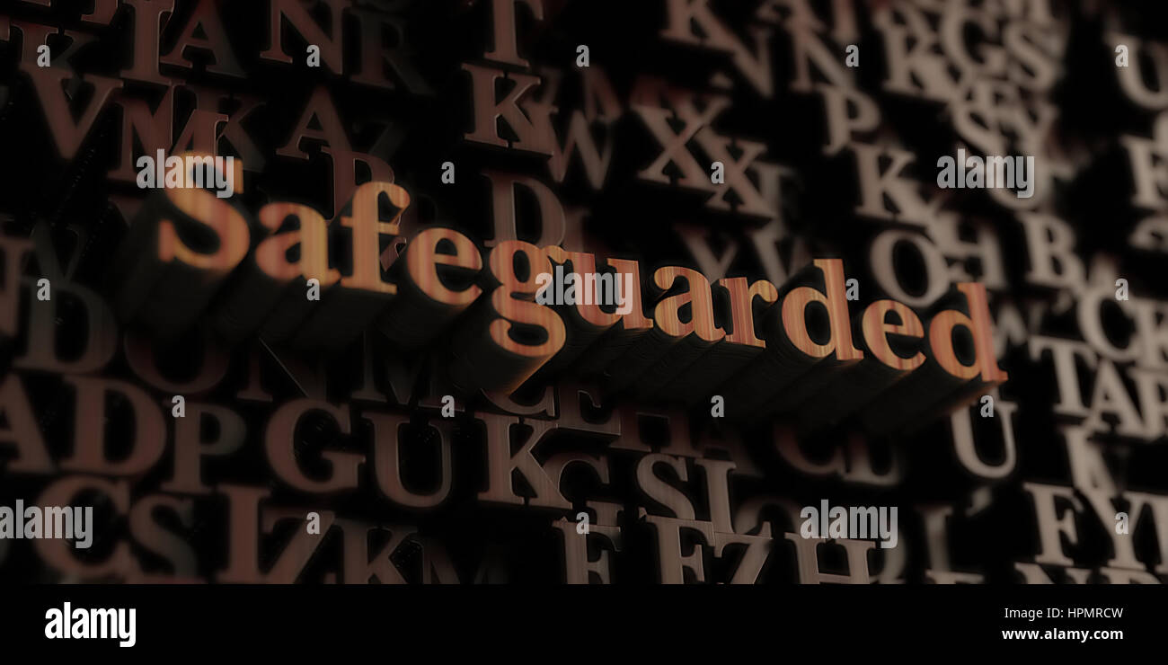 Safeguarded - Wooden 3D rendered letters/message.  Can be used for an online banner ad or a print postcard. - Stock Image