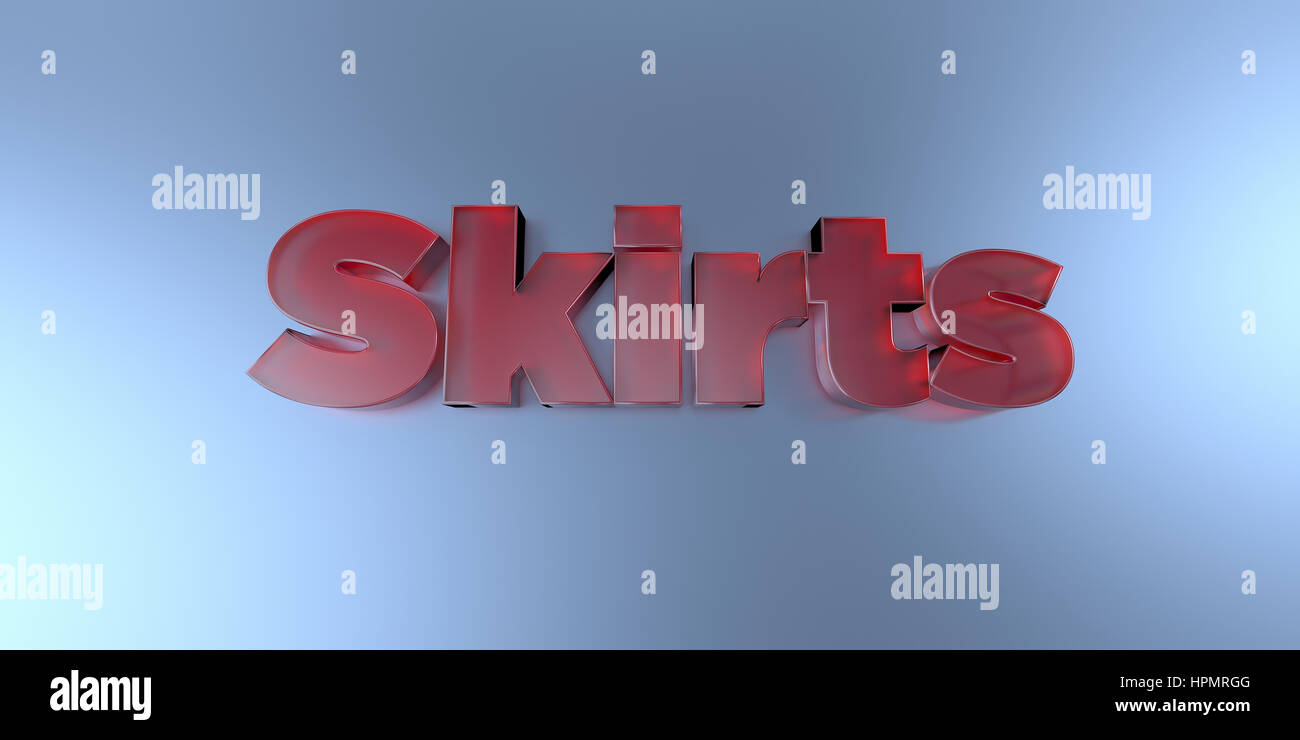 Skirts - colorful glass text on vibrant background - 3D rendered royalty free stock image. - Stock Image