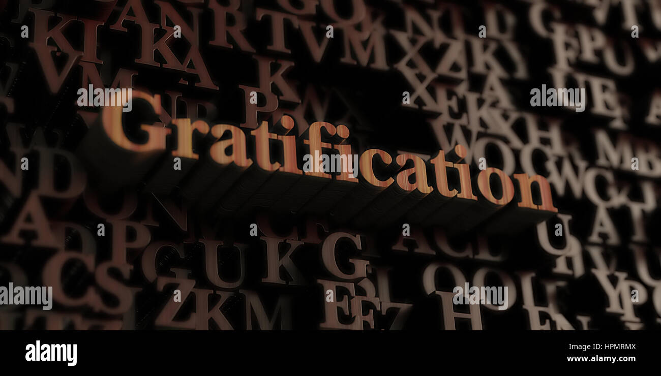 Gratification - Wooden 3D rendered letters/message.  Can be used for an online banner ad or a print postcard. Stock Photo