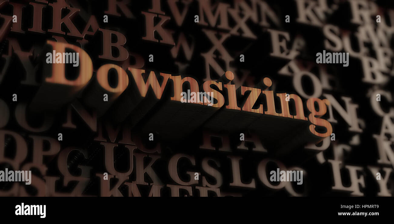 Downsizing - Wooden 3D rendered letters/message.  Can be used for an online banner ad or a print postcard. - Stock Image
