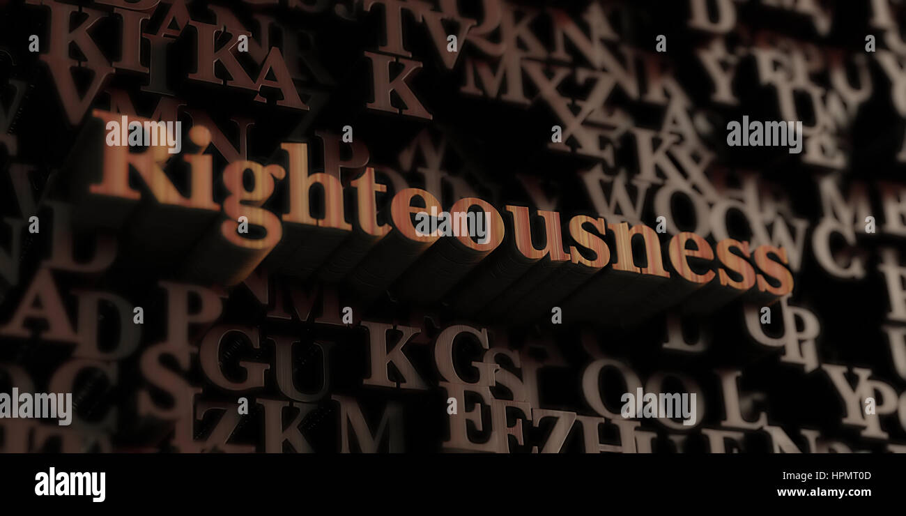 Righteousness - Wooden 3D rendered letters/message.  Can be used for an online banner ad or a print postcard. - Stock Image