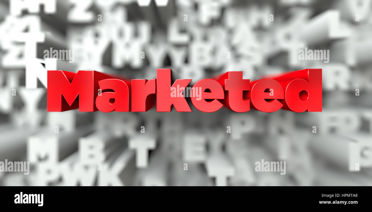Marketed -  Red text on typography background - 3D rendered royalty free stock image. This image can be used for - Stock Image