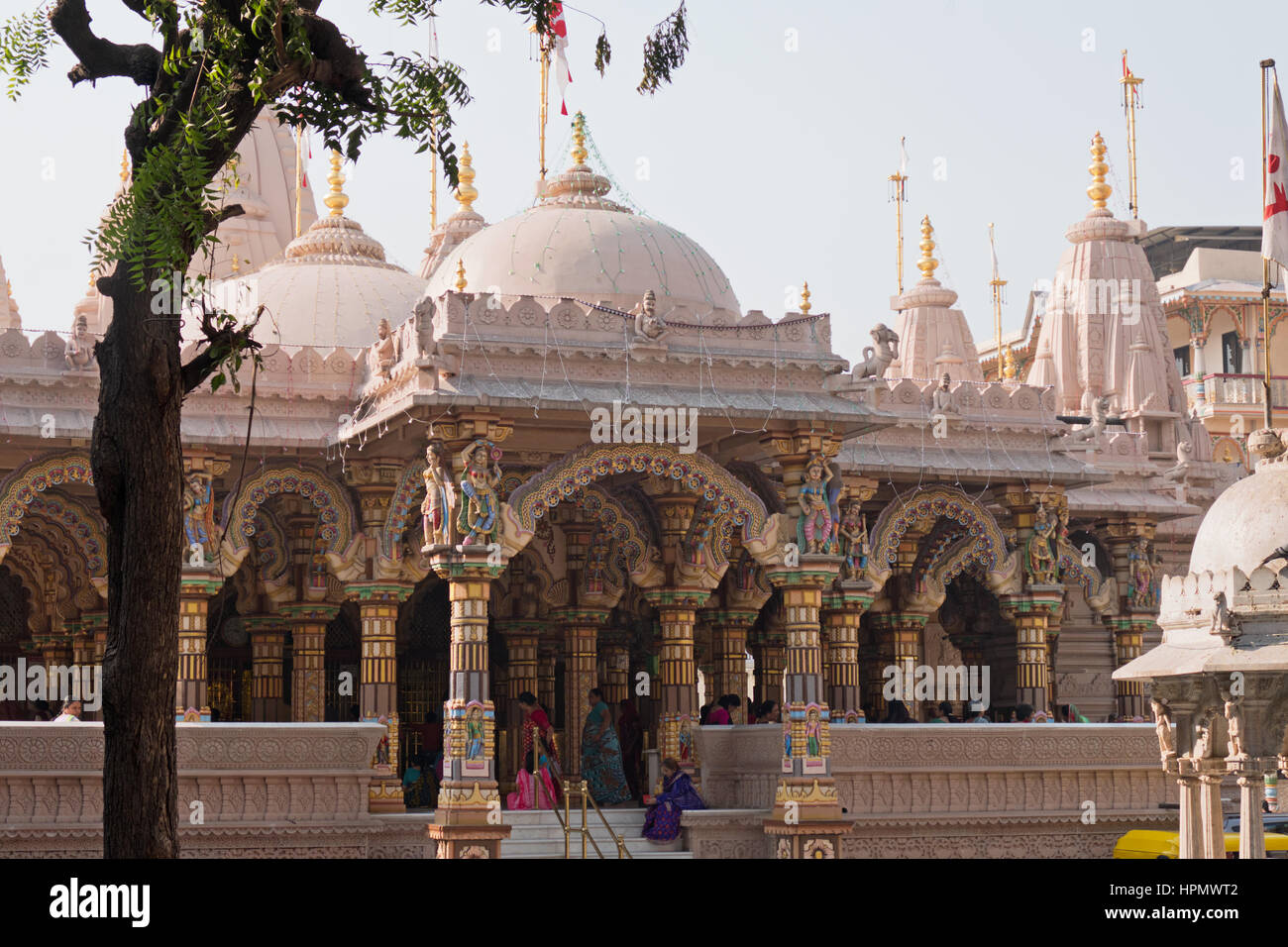 General view of the Hindu Shri Swaminarayan Hindu temple in Ahmedabad, India - Stock Image