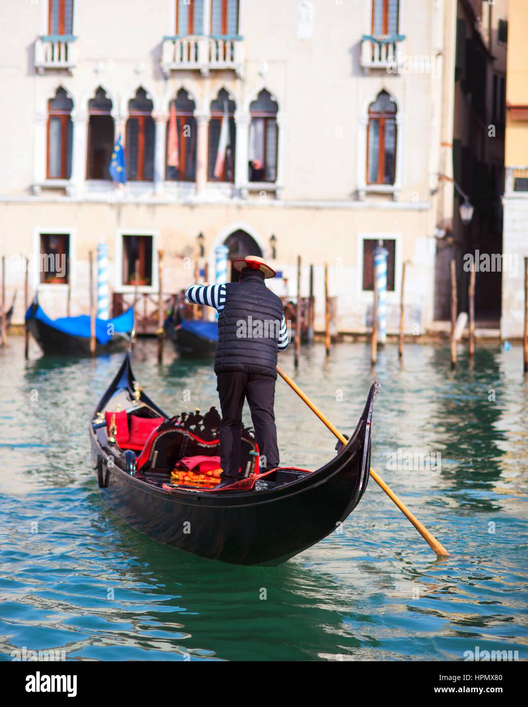 Gondolier in Venice, Italy - Stock Image