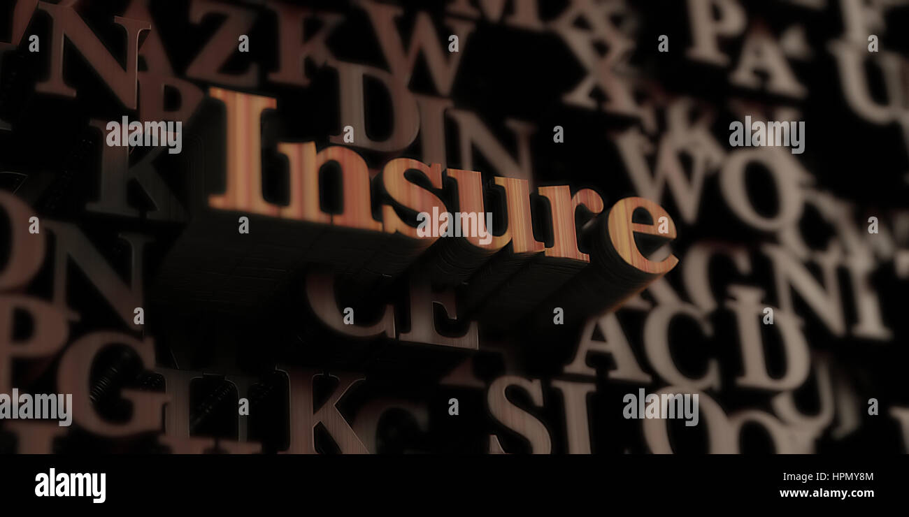Insure - Wooden 3D rendered letters/message.  Can be used for an online banner ad or a print postcard. - Stock Image
