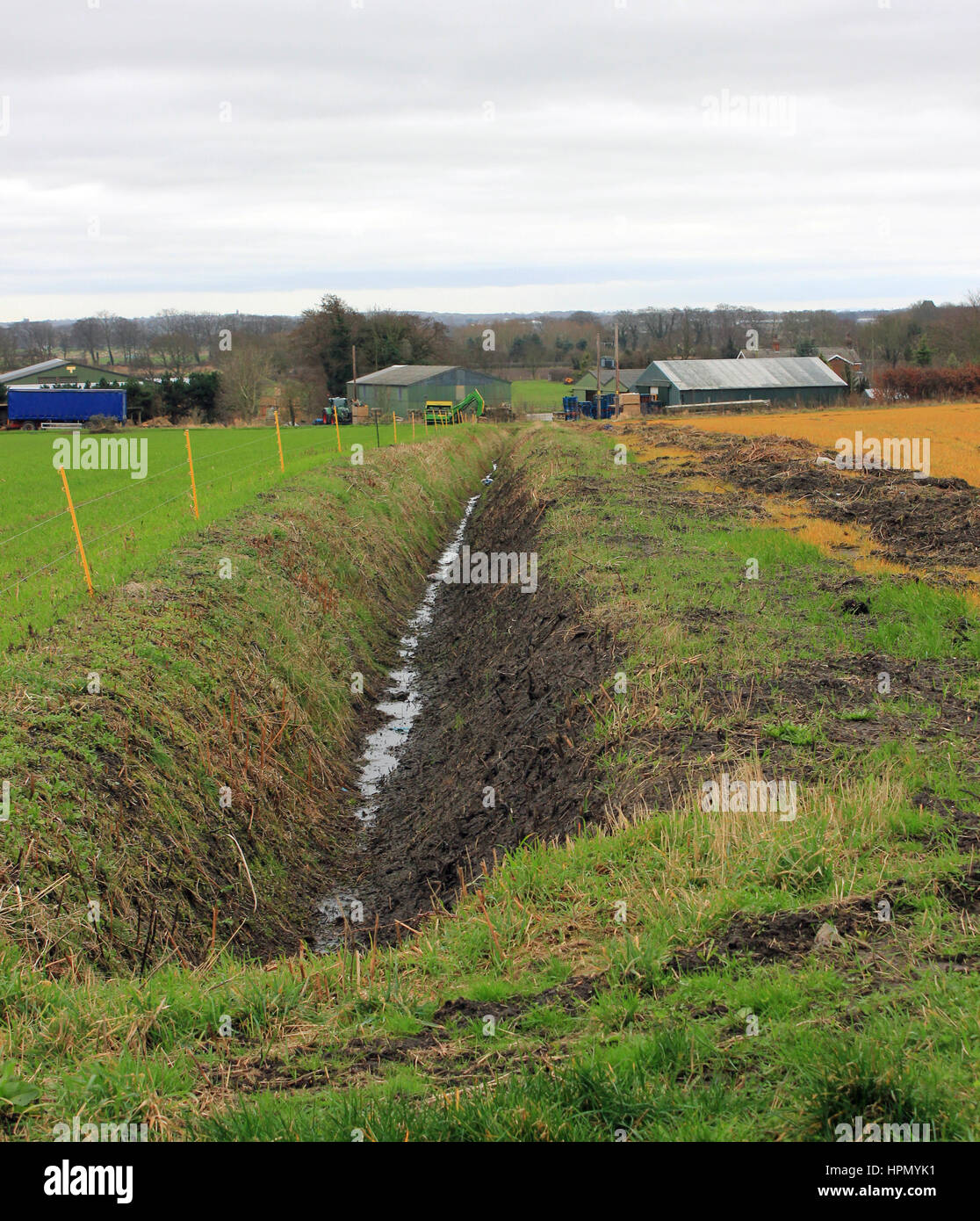 A field drainage ditch has recently been cleaned out at near Holmeswood in West Lancashire - Stock Image