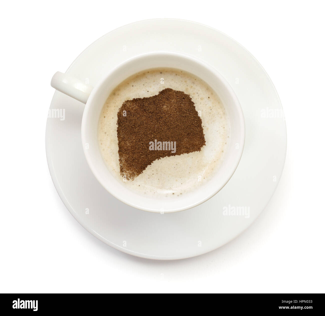 A cup of coffee with foam and powder in the shape of Rwanda.(series) - Stock Image
