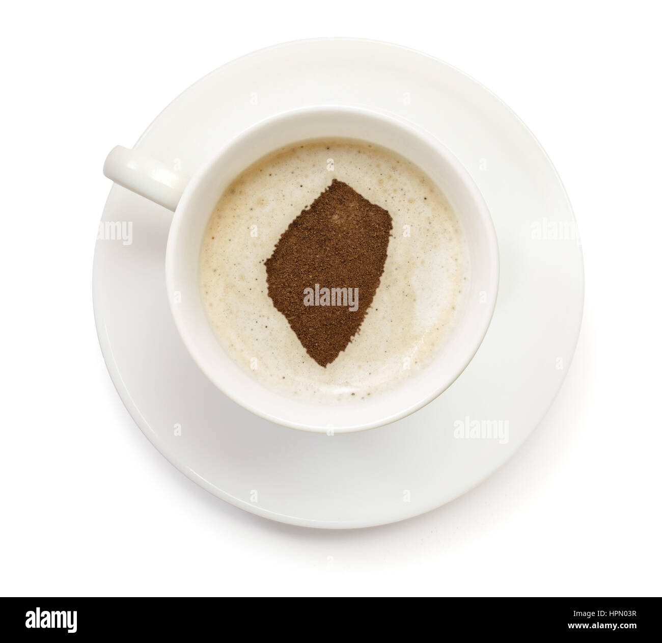 A cup of coffee with foam and powder in the shape of Swaziland.(series) Stock Photo