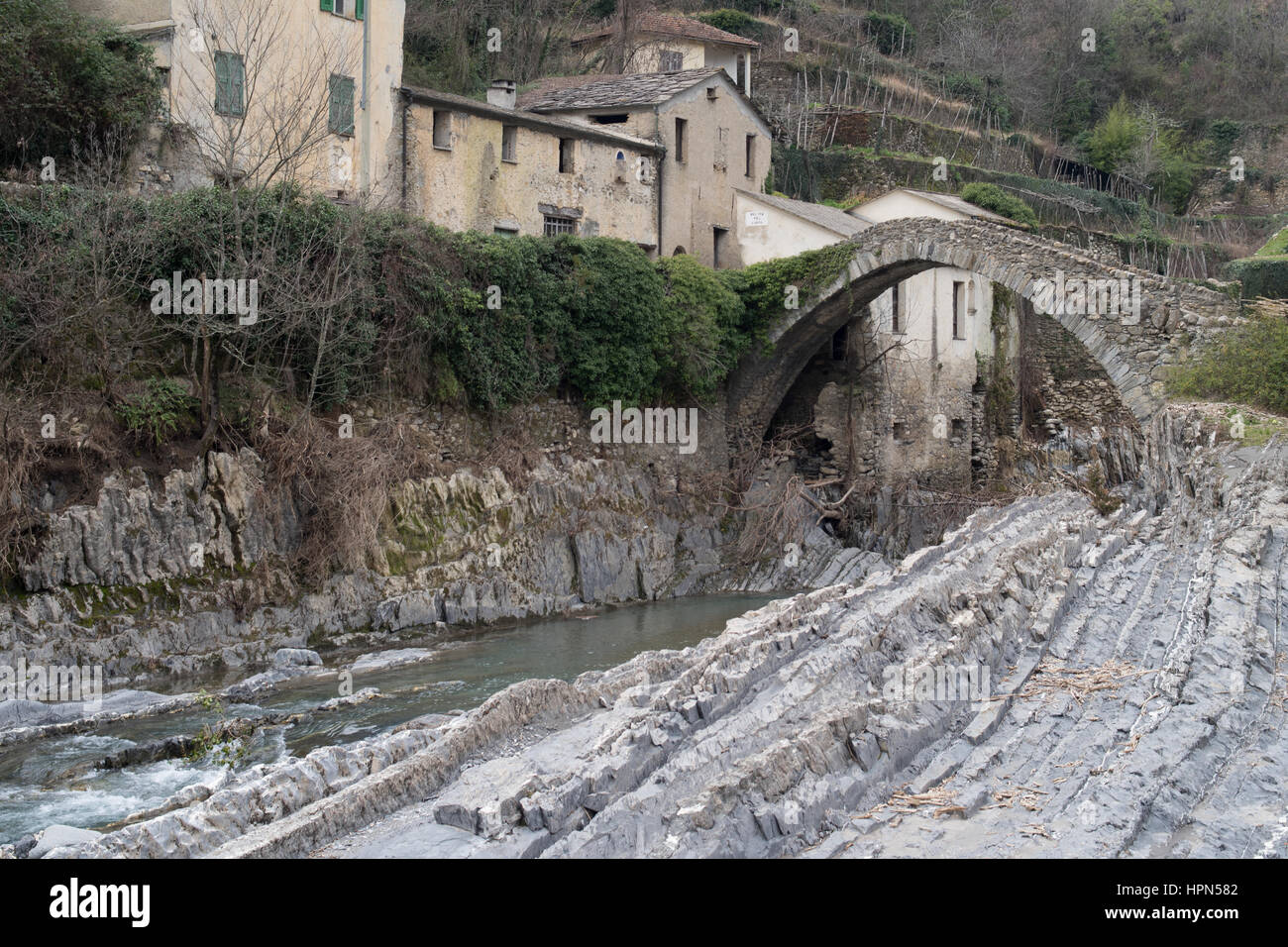 Italy, Province of Imperia, The Arch Bridge - Stock Image