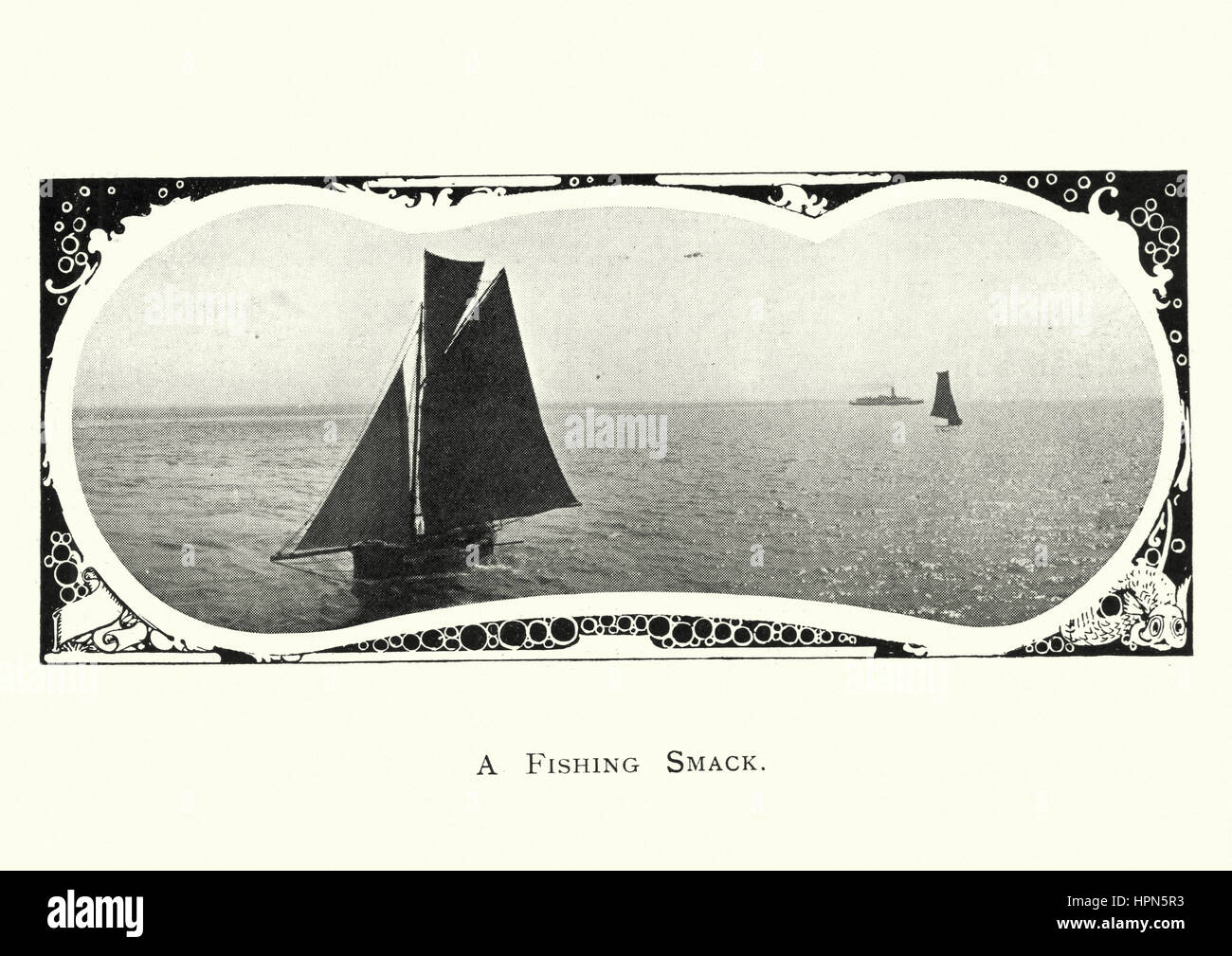 A smack was a traditional fishing boat used off the coast of Britain and the Atlantic coast of America for most - Stock Image