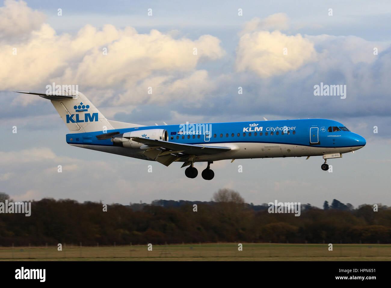 KLM Cityhopper Fokker 70 landing at Southampton Airport - Stock Image