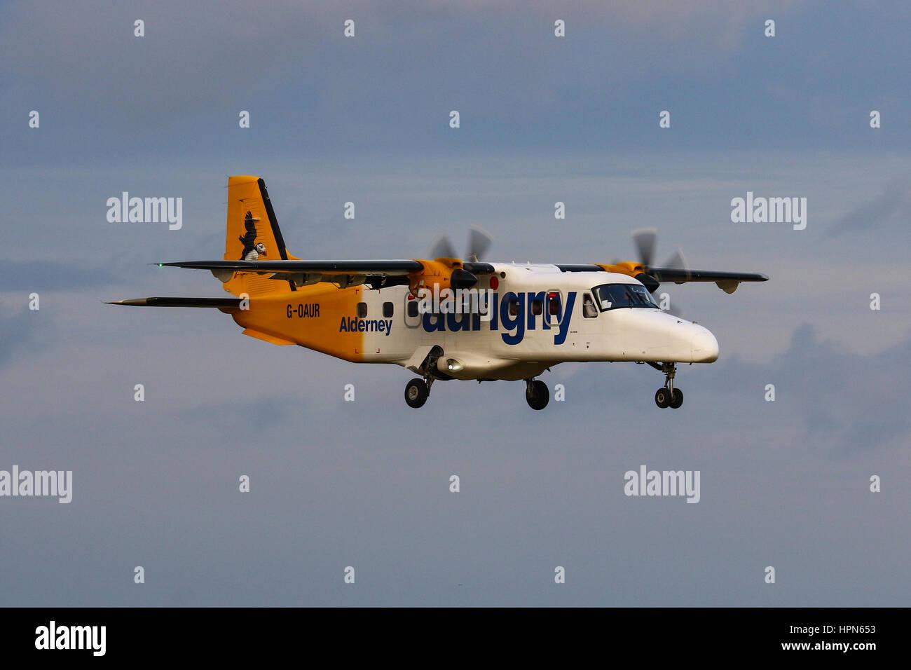 Aurigny Air Services Dornier 228NG landing at Southampton Airport, UK - Stock Image