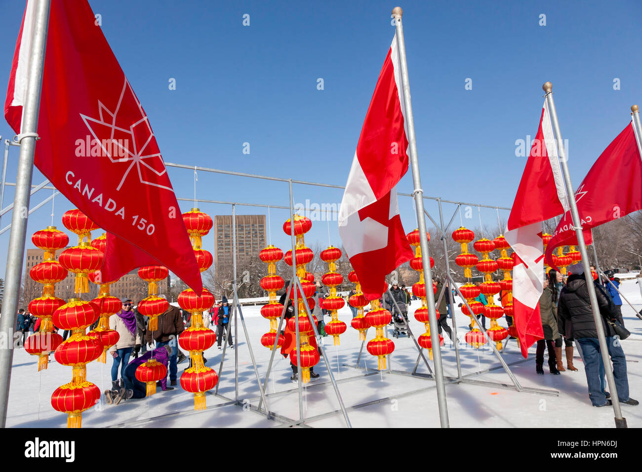 Chinese later and Canada Flag at Dow's Lake in Ottawa,Ontario,Canada, Capital city of Canada in the Winter, - Stock Image