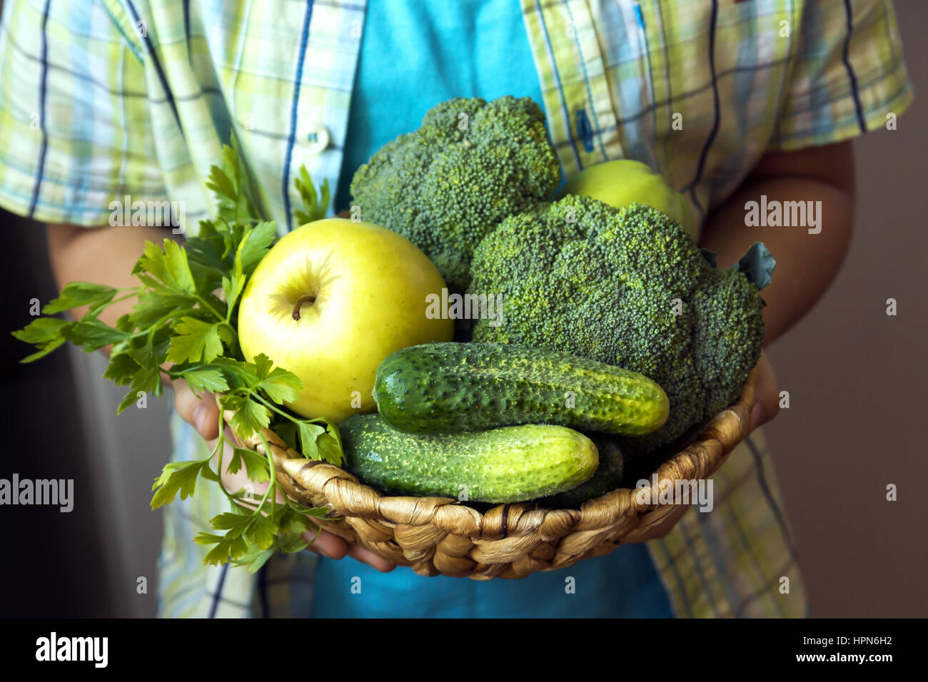 Person (hands) hold basket with organic green vegetables (broccoli, cucumbers, apple and parsley) - healthy organic - Stock Image