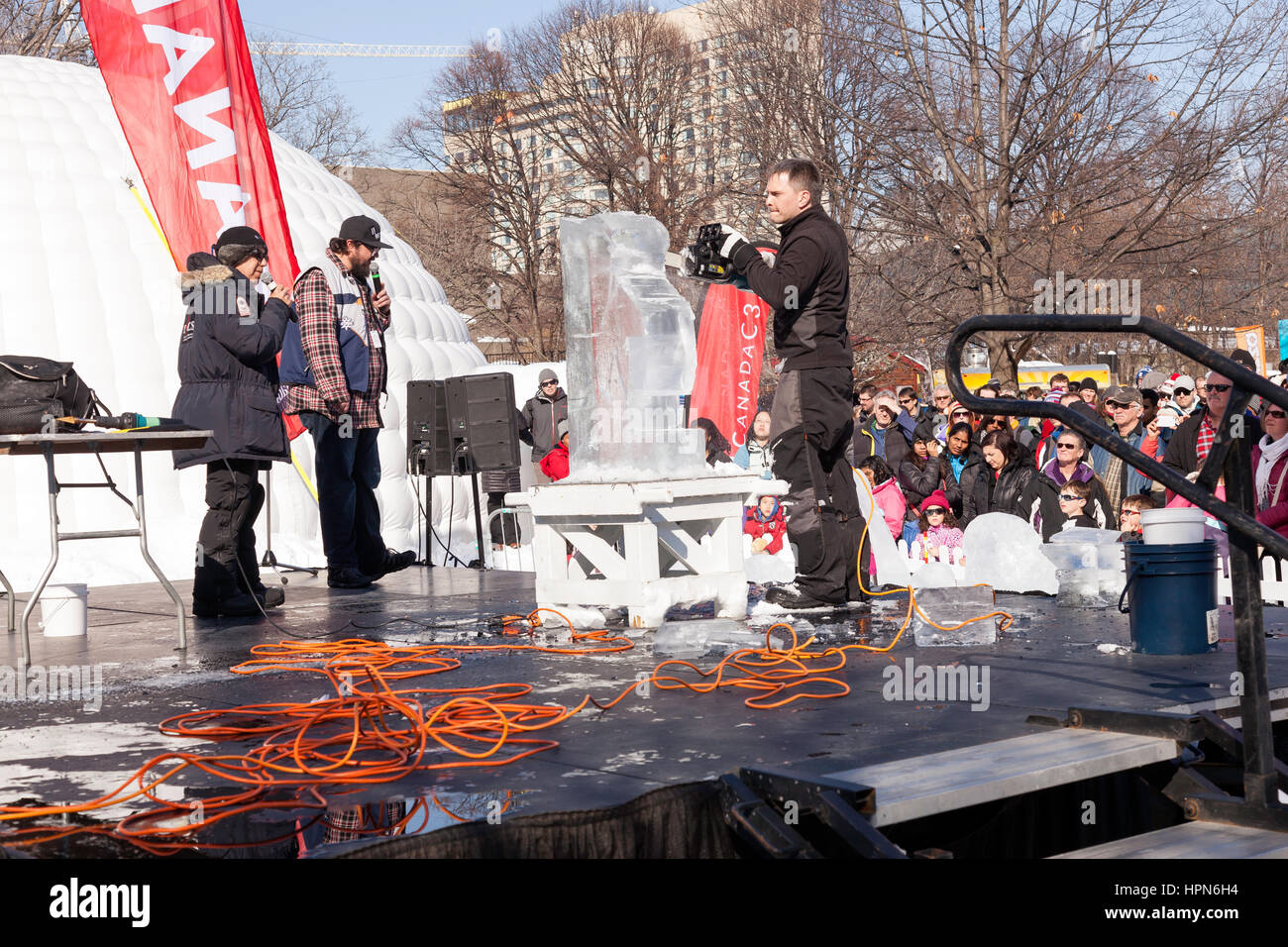 Ice carving demonstration in Ottawa,Ontario,Canada, Capital city of Canada in the Winter, Winterlude 2017, Canada - Stock Image