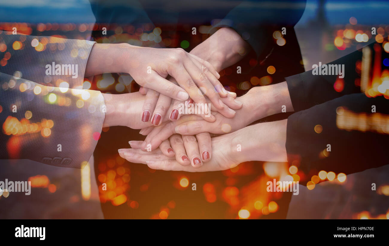 Double Exposure Team Teamwork Togetherness Collaboration Concept - Stock Image