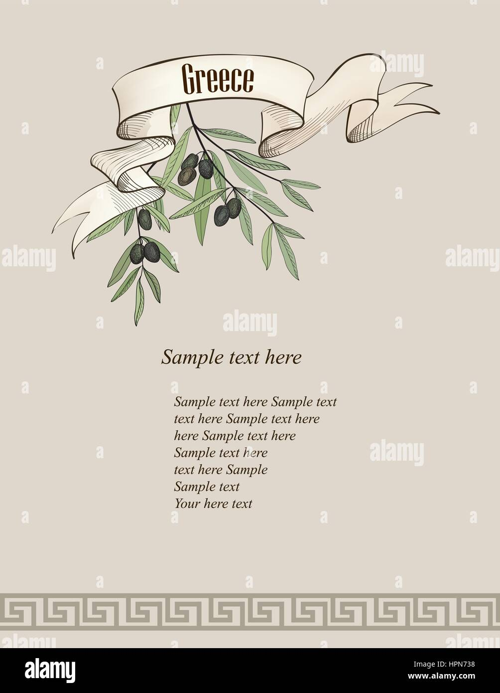 Vintage olive background. Greek old-fashioned wallpaper with copy space. - Stock Vector