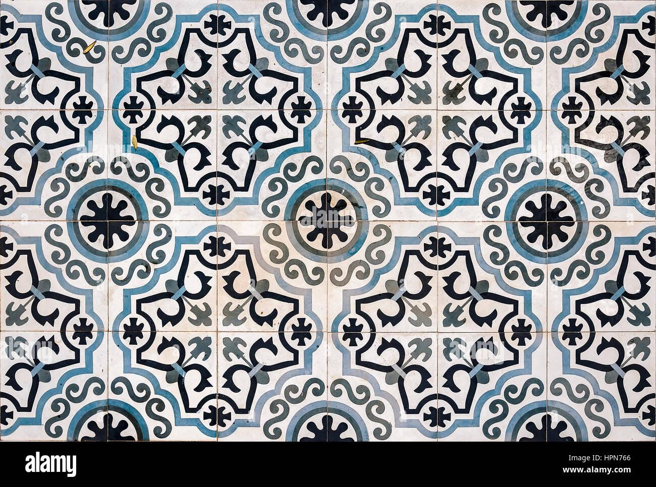 Ornate ceramic floor tiles from a property in Lerapetra, Crete. - Stock Image