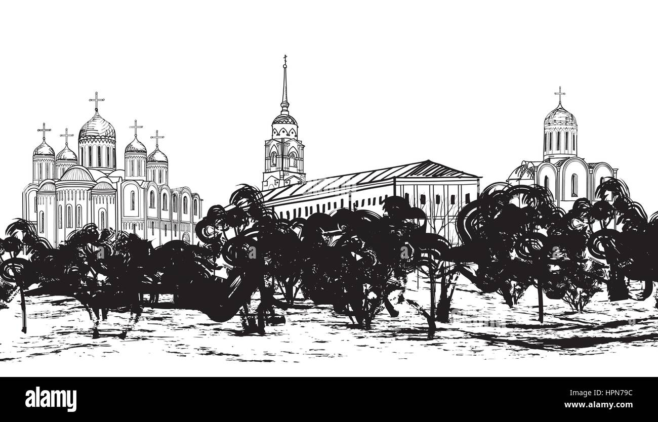 Old russian town landscape hand drawn vector illustration. View of Vladimir cityscape. Ancient City. The Golden - Stock Image