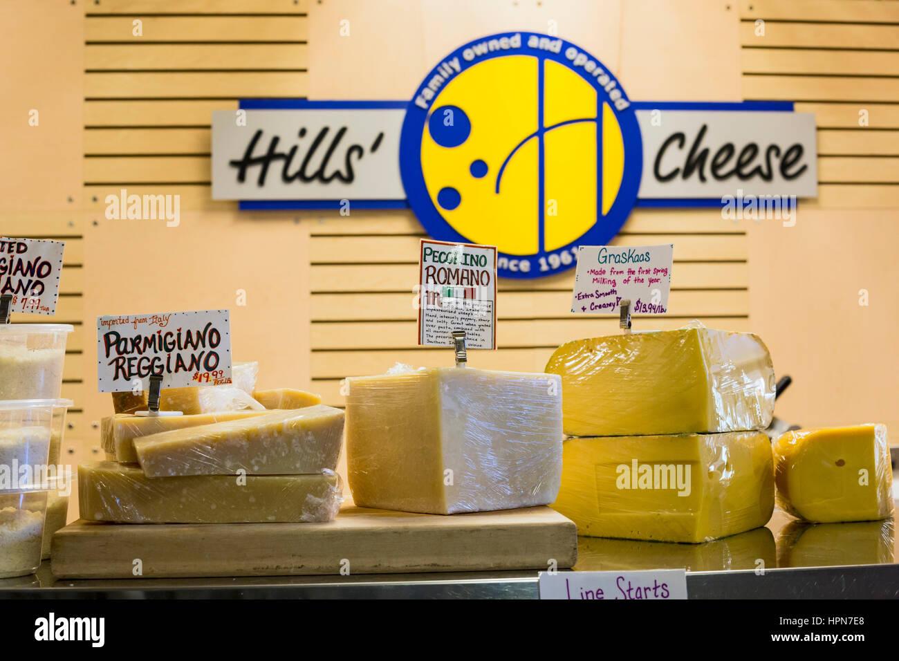 Flint, Michigan - A cheese shop at the Flint Farmers Market. - Stock Image