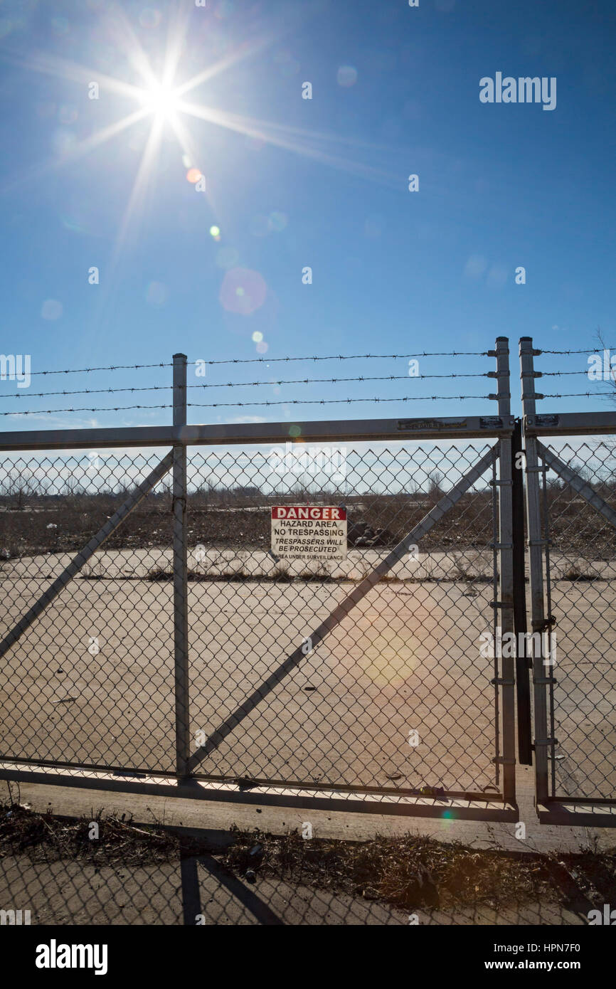 Flint, Michigan - The site of the demolished General Motors AC Spark Plug plant, which closed in 2013. The plant - Stock Image